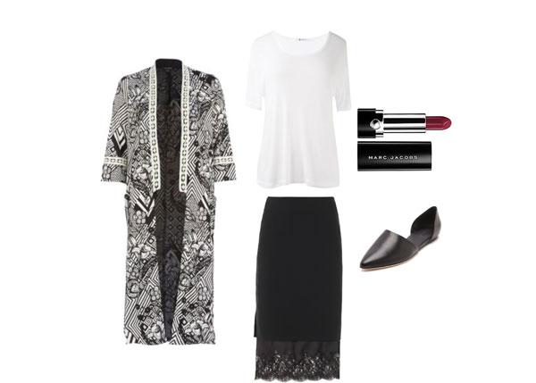 Kimono-and-midi-skirt